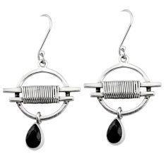 3.31cts natural black onyx pear 925 silver handmade earrings r73008