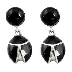 Natural black onyx round 925 sterling silver earrings jewelry c22182
