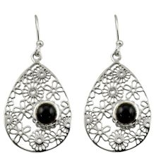 1.85cts natural black onyx round 925 sterling silver earrings jewelry d47354