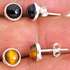 4.88cts natural black onyx tiger's eye 925 sterling silver stud earrings r65446
