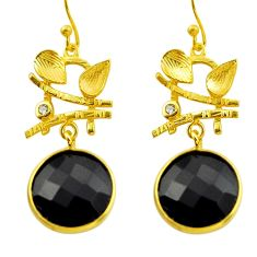 18.06cts natural black onyx topaz 925 silver 14k gold dangle earrings r32939