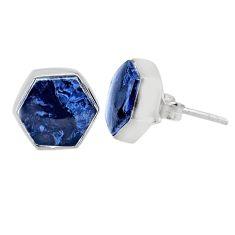 7.15cts natural black pietersite (african) 925 silver stud earrings r80251
