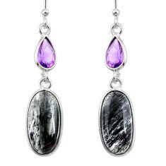 11.26cts natural black rutile purple amethyst 925 silver dangle earrings r68302