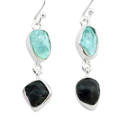 9.35cts natural black tourmaline aquamarine raw 925 silver earrings t21181