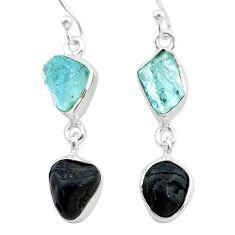 10.71cts natural black tourmaline aquamarine raw 925 silver earrings t21182
