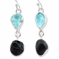 9.83cts natural black tourmaline aquamarine raw 925 silver earrings t21183