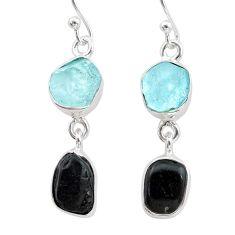 9.75cts natural black tourmaline aquamarine raw 925 silver earrings t21186