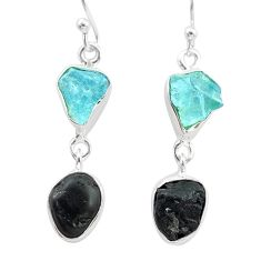 10.32cts natural black tourmaline aquamarine raw 925 silver earrings t21187