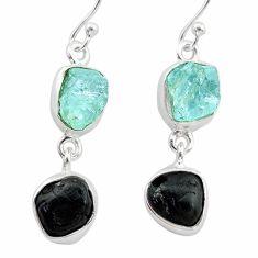12.06cts natural black tourmaline aquamarine raw 925 silver earrings t21188