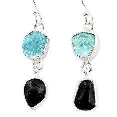 10.76cts natural black tourmaline aquamarine raw 925 silver earrings t21189