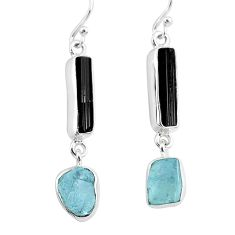 12.58cts natural black tourmaline raw 925 silver dangle earrings r93691