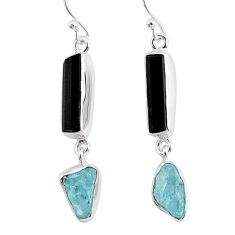 12.58cts natural black tourmaline raw 925 silver dangle earrings r93693