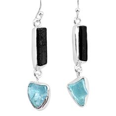 12.12cts natural black tourmaline raw 925 silver dangle earrings r93695