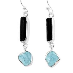 11.57cts natural black tourmaline raw 925 silver dangle earrings r93696