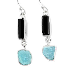 12.14cts natural black tourmaline raw 925 silver dangle earrings r93698