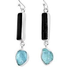 12.58cts natural black tourmaline raw 925 silver dangle earrings r93699