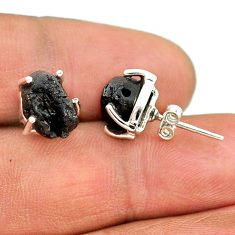 8.15cts natural black tourmaline raw 925 sterling silver stud earrings t21086