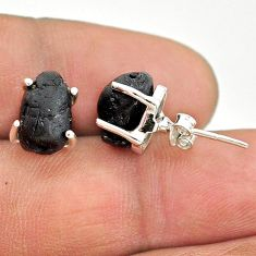 8.15cts natural black tourmaline raw 925 sterling silver stud earrings t21089