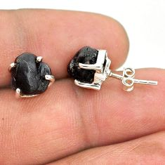 7.57cts natural black tourmaline raw 925 sterling silver stud earrings t21093