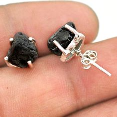 7.65cts natural black tourmaline raw 925 sterling silver stud earrings t21096