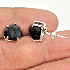 8.15cts natural black tourmaline raw 925 sterling silver stud earrings t21101