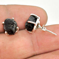 7.62cts natural black tourmaline raw 925 sterling silver stud earrings t21102