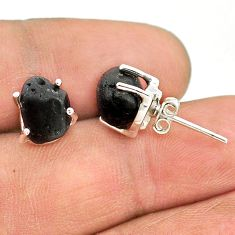 8.15cts natural black tourmaline raw 925 sterling silver stud earrings t21105
