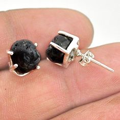 7.65cts natural black tourmaline raw 925 sterling silver stud earrings t21106