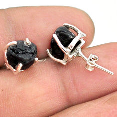 7.67cts natural black tourmaline raw 925 sterling silver stud earrings t21108