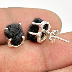 7.23cts natural black tourmaline raw 925 sterling silver stud earrings t21109