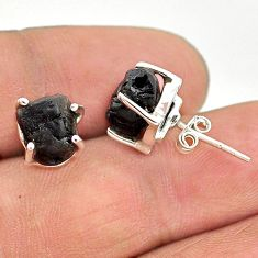 8.18cts natural black tourmaline raw 925 sterling silver stud earrings t21112