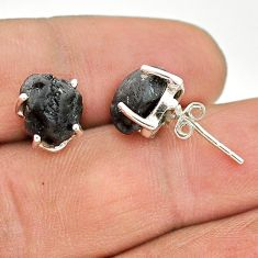 7.65cts natural black tourmaline raw 925 sterling silver stud earrings t21114