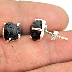 7.65cts natural black tourmaline raw 925 sterling silver stud earrings t21115
