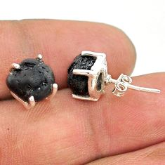 8.18cts natural black tourmaline raw 925 sterling silver stud earrings t21117