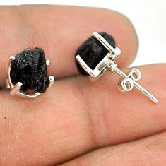 7.65cts natural black tourmaline raw 925 sterling silver stud earrings t21118