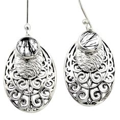 2.01cts natural black tourmaline rutile 925 silver dangle earrings d46884