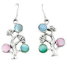 5.02gms natural blister pearl enamel 925 silver tree of life earrings c11844