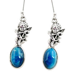 9.04cts natural blue apatite (madagascar) 925 silver angel earrings d40545