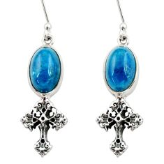 Clearance Sale- 8.54cts natural blue apatite (madagascar) 925 silver holy cross earrings d40541