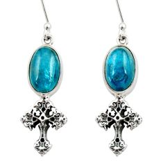 Clearance Sale- 8.48cts natural blue apatite (madagascar) 925 silver holy cross earrings d40543