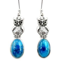 Clearance Sale- 8.52cts natural blue apatite (madagascar) 925 silver owl earrings d40542