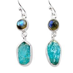 11.66cts natural blue apatite raw labradorite 925 silver earrings t38222