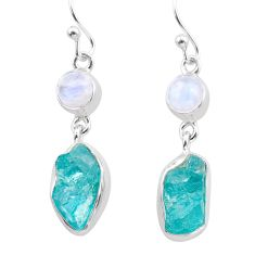 12.01cts natural blue apatite raw moonstone 925 silver dangle earrings t38229