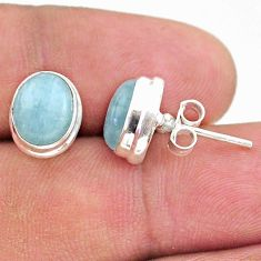 6.19cts natural blue aquamarine 925 sterling silver stud earrings jewelry t38281