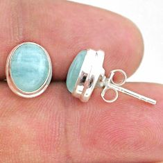 6.16cts natural blue aquamarine 925 sterling silver stud earrings jewelry t38282