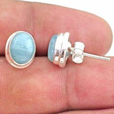 5.76cts natural blue aquamarine 925 sterling silver stud earrings jewelry t38296