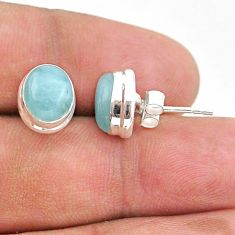 5.74cts natural blue aquamarine 925 sterling silver stud earrings jewelry t38299
