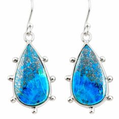 17.29cts natural blue chrysocolla 925 sterling silver dangle earrings r75733