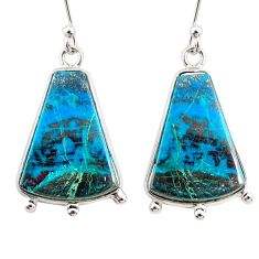16.07cts natural blue chrysocolla 925 sterling silver dangle earrings r75736