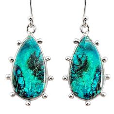14.73cts natural blue chrysocolla 925 sterling silver dangle earrings r75737